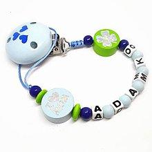 Detské doplnky - Kvalitná retiazka na cumlík na mieru (Ľúbim mamu a otecka. Štvorlístok pre šťastie) - 9324256_