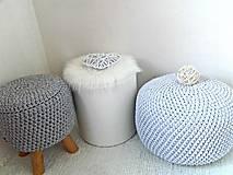 Úžitkový textil - Háčkovaný PUF svetlošedý bavlna - 9325443_