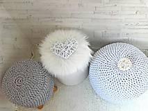 Úžitkový textil - Háčkovaný PUF svetlošedý bavlna - 9325444_