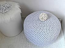 Úžitkový textil - Háčkovaný PUF svetlošedý bavlna - 9325445_