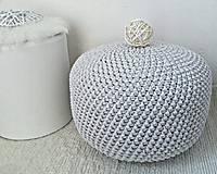 Úžitkový textil - Háčkovaný PUF svetlošedý bavlna - 9325448_