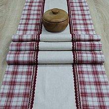 Úžitkový textil - 4 x bordó na režnej(káro)- stredový obrus 144x41 - 9326393_
