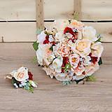 Kytice pre nevestu - Svadobná kytica marhuľová s kvapkou červenej - 9329570_