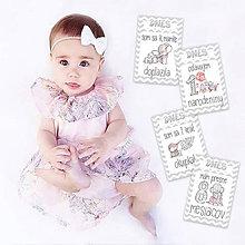 Detské doplnky - Miľníkové kartičky Chevron Sloníky 24ks - 9332787_