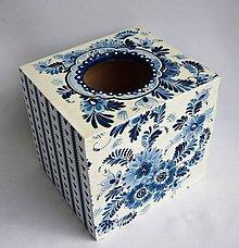 Krabičky - Krabica na vreckovky-modrý folk - 9328802_