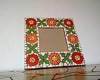 Zrkadlá - Mozaikové zrkadlo FOLKLÓRNE... kvety a štvorlístky - 9331888_