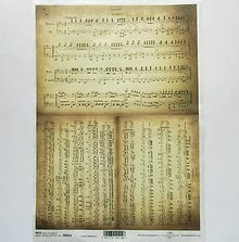 Papier - Ryžový papier na decoupage - A4-R0014 - notový zápis, opera - 9328504_