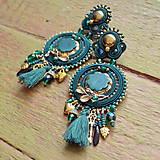 Náušnice - Emerald&Gold- sutaškové náušnice - 9329654_