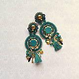 Náušnice - Emerald&Gold- sutaškové náušnice - 9329656_