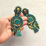 Náušnice - Emerald&Gold- sutaškové náušnice  - 9329657_
