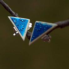 Náušnice - Náušnice Klipsne Modrý trojuholník - 9330879_