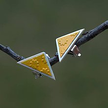 Náušnice - Náušnice Klipsne Žltý trojuholník - 9331261_