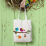 Nákupné tašky - Vtáčiky (bavlnená taška) - 9328837_