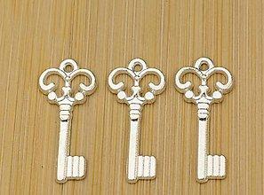 Komponenty - Prívesok strieborný kľúčik 2,1 x 1,0 cm - 9328396_