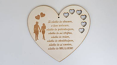 Dekorácie - Srdce s textom MILUJEM - 9330824_