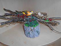 Dekorácie - Prírodná dekorácia s konármi a vtáčikom - 9332100_