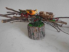 Dekorácie - Prírodná dekorácia s konármi a vtáčikom - 9332096_