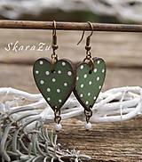 Náušnice - Heart dots // Olive - 9332494_