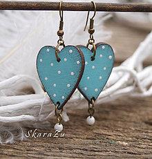 Náušnice - Heart dots // Tyrkys - 9332381_
