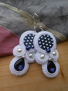 Náušnice - Folk modrotlačové náušnice (Modrá) - 9331511_
