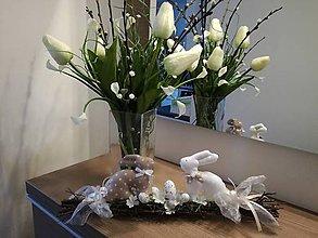 Dekorácie - Zajačiky na konári - 9330457_