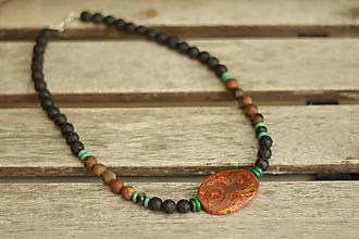 Šperky - Pánsky náhrdelník z minerálov achát dzi, onyx, tigrie oko - 9329428_