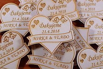 Darčeky pre svadobčanov - Svadobná magnetka drevená gravírovaná 150 - 9328490_