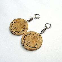 Náušnice - Špaltovaná breza - hubami maľované - 9331626_