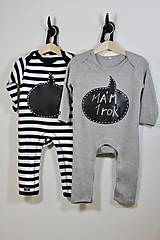 Detské oblečenie - detský overal s tabuľou na brušku - sivý - 9335719_