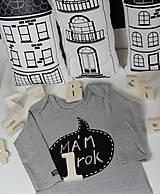 Detské oblečenie - detský overal s tabuľou na brušku - sivý - 9335722_