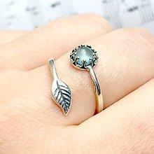 Prstene - Simple Leaf Silver Gemstone Ring Ag925 / Strieborný prsteň s minerálom /0436 (Aquamarine / Akvamarín) - 9335004_