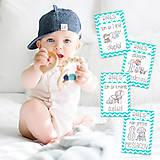 Detské doplnky - Miľníkové kartičky Turquoise Chevron 24ks - 9333193_