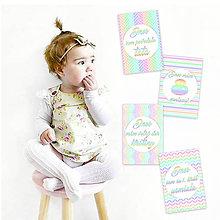 Detské doplnky - Miľníkové kartičky - Pastel Rainbow 24ks - 9332816_