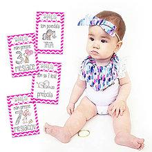 Detské doplnky - Miľníkové kartičky HotPink Chevron 24ks - 9332854_