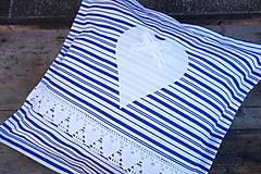 Pruhovaný modro biely vidiecky vankúš
