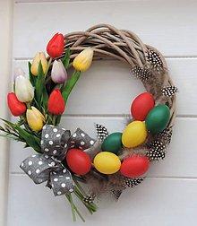 Dekorácie - Tulipánový veniec - 9335731_