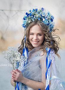 Ozdoby do vlasov - Modro-krémová kvetinová bohato zdobená folk parta - 9337013_