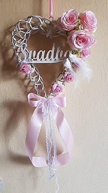 Dekorácie - svadobné srdce na dvere ružové s holúbkami - 9334689_