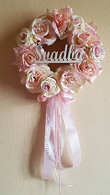 Dekorácie - romantický svadobný veniec ružový s nápisom - 9334758_