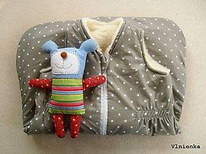 Textil - RUNO SHOP Spací vak pre deti a bábätká ZIMNÝ 100% MERINO na mieru Hviezdička sivá - 9333654_