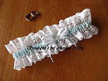 Bielizeň/Plavky - Svadobný podväzok (Modrá s bielou mašličkou) - 9335790_