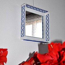 Zrkadlá - Štvorcové zrkadlo Modrá výšivka AKCIA! - 9333858_