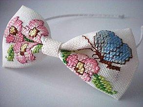 Ozdoby do vlasov - Vyšívaná čelenka (Čerešňový kvet s motýľom) - 9333833_