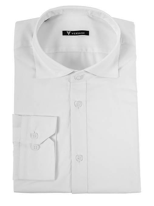 62033d339b3f Pánska košeľa so žraločím golierom VS-PK1739 biela 100% bavlna ...