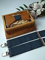 - Pánsky set - drevený motýlik a traky - 9334712_