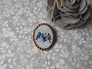 Odznaky/Brošne - Brošňa s vtáčikmi VII. - ZĽAVA zo 4,20 eur - 9335843_