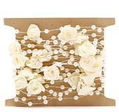 SP101 Stuha s perličkami a ružičkami  (Krémová)