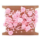 SP101 Stuha s perličkami a ružičkami  (Ružová)