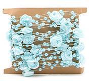 SP101 Stuha s perličkami a ružičkami  (Modrá)