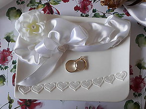 Prstene - Tanierik pod obrúčky a krížik - 9333539_